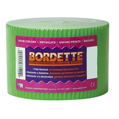 """Pacon Bordette ScallopedDecorative Border - Rectangle with Scalloped Trim - Pin-up - Fadeless - 2.25"""" Width x 600"""" Length - Apple Green - Paper - 1 / Roll"""