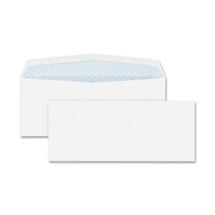 "Windowless Envelope - Security - #10 - 4.13"" Width x 9.50"" Length - 24 lb - Gummed - Wove - 500 / Box - White"