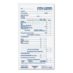 "Rediform Individual Time/Payroll Record Form - 55 Sheet(s) - 2 Part - Carbonless Copy - 6.87"" x 3.75"" Sheet Size - White Sheet(s) - Blue Print Color - White Cover - 1 Each"