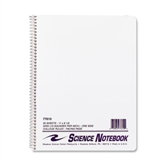 "Science Notebook - 50 Sheets - Printed - Wire Bound - Both Side Ruling Surface - Letter 8.50"" x 11"" - 50 / Each"