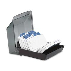 Rolodex 9-Divider Covered Petite Card File - 250 Address Card - 9 Printed - Black