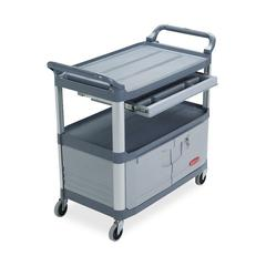 "Rubbermaid Instrument Cart - 3 Shelf - 300 lb Capacity - 4"" Caster Size - 40.6"" Width x 20"" Depth x 37.8"" Height - Gray"