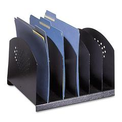 "Desk Rack - 6 Compartment(s) - 2"" - 8"" Height x 12.1"" Width x 11.1"" Depth - Desktop - Black - Steel - 1Each"