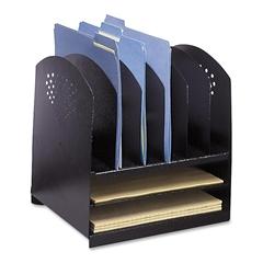"Safco Rack Desktop Organizer - 8 Compartment(s) - 12.8"" Height x 12.3"" Width x 11.3"" Depth - Desktop - Black - Steel - 1Each"