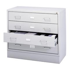 "A/V Equipment Cabinet - 200 lb Load Capacity - 27.8"" Height x 37"" Width x 17.5"" Depth - Freestanding - Baked Enamel - Steel - Light Gray, Chrome"
