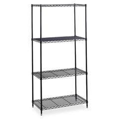 "Safco Industrial Wire Shelving - 36"" x 24"" - 4 x Shelf(ves) - 2500 lb Load Capacity - Leveling Glide, Dust Proof, Adjustable Shelf, Durable - Black - Powder Coated - Steel - Assembly Required"