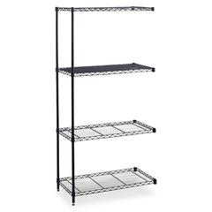 """Industrial Wire Shelving Add-On Unit - 36"""" x 24"""" x 72"""" - 4 x Shelf(ves) - 1250 lb Load Capacity - Leveling Glide, Adjustable Shelf - Black - Powder Coated - Steel - Assembly Required"""