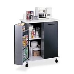"Safco Mobile Refreshment Stand - 3 Shelf - Melamine, Laminate - 29.5"" Width x 22.8"" Depth x 33.1"" Height - Black"
