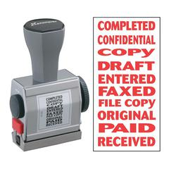 "Xstamper Rubber Stamp - Message Stamp - ""COMPLETED, CONFIDENTIAL, COPY, DRAFT, ENTERED, FAXED, FILE COPY, ORIGINAL, PAID, RECEIVED"" - 0.19"" Impression Width x 1.50"" Impression Length - Red - 1 Each"