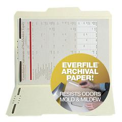 "SJ Paper Archival File Folder with Fasteners - Legal - 8 1/2"" x 14"" Sheet Size - 2 Fastener(s) - 2"" Fastener Capacity for Folder - 1/3 Tab Cut - Assorted Position Tab Location - EverFile Paper - Manil"