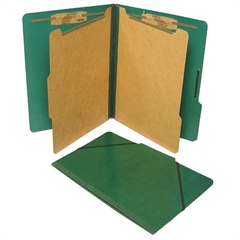 """SJ Paper Classification Folio - Legal - 8 1/2"""" x 14"""" Sheet Size - 2 1/4"""" Expansion - 2"""" Fastener Capacity for Folder - 2 Divider(s) - 25 pt. Folder Thickness - Pressboard - Forest Green - Recycled - 1"""