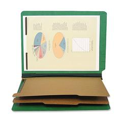 "SJ Paper 6-part 2-1/4"" Exp Classification Folders - Letter - 8 1/2"" x 11"" Sheet Size - 2 1/4"" Expansion - 2"" Fastener Capacity for Folder - 25 pt. Folder Thickness - Pressboard - Emerald Green - Recyc"