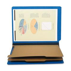 "Six Section Classification Folder - Letter - 8 1/2"" x 11"" Sheet Size - 2 1/4"" Expansion - 2"" Fastener Capacity for Folder - 25 pt. Folder Thickness - Pressboard - Cobalt Blue - Recycled - 1 E"