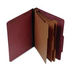 "SJ Paper Classification Folder - Letter - 8 1/2"" x 11"" Sheet Size - 3"" Expansion - 8 Fastener(s) - 2"" Fastener Capacity for Folder - 3 Divider(s) - 25 pt. Folder Thickness - Pressboard - Red - Recycle"