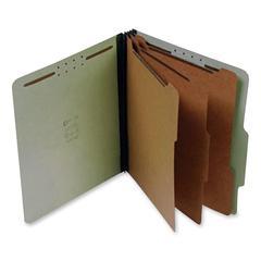 "SJ Paper Classification Folder - Letter - 8 1/2"" x 11"" Sheet Size - 3"" Expansion - 8 Fastener(s) - 2"" Fastener Capacity for Folder - 3 Divider(s) - 25 pt. Folder Thickness - Pressboard - Green - Recyc"