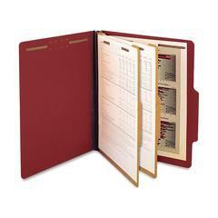 "Classification Folder - Letter - 8 1/2"" x 11"" Sheet Size - 2 1/4"" Expansion - 6 Fastener(s) - 2"" Fastener Capacity for Folder - 2 Divider(s) - 25 pt. Folder Thickness - Pressboard - Red - Rec"