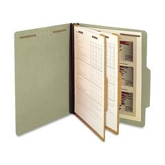 "Classification Folder - Letter - 8 1/2"" x 11"" Sheet Size - 2 1/4"" Expansion - 6 Fastener(s) - 2"" Fastener Capacity for Folder - 2 Divider(s) - 25 pt. Folder Thickness - Pressboard - Green - R"