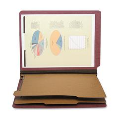 """SJ Paper Six Section Classification Folder - Letter - 8 1/2"""" x 11"""" Sheet Size - 2 1/4"""" Expansion - 2"""" Fastener Capacity for Folder - 2 Divider(s) - 25 pt. Folder Thickness - Pressboard - Red - Recycle"""
