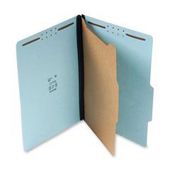 "SJ Paper Classification Folder - Letter - 8 1/2"" x 11"" Sheet Size - 4 Fastener(s) - 2"" Fastener Capacity for Folder - 1 Divider(s) - 25 pt. Folder Thickness - Pressboard - Blue - Recycled - 20 / Box"