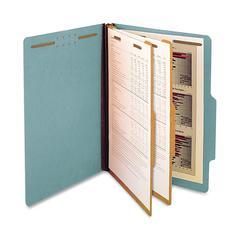 "SJ Paper 2-Divider Classification Folders - Legal - 8 1/2"" x 14"" Sheet Size - 6 Fastener(s) - 2"" Fastener Capacity for Folder - 2 Divider(s) - 25 pt. Folder Thickness - Pressboard - Blue - Recycled -"