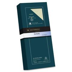 "25% Cotton Linen Envelopes - Stationery - #10 - 4.13"" Width x 9.50"" Length - 24 lb - Cotton Fiber, Linen - 50 / Box - Ivory"