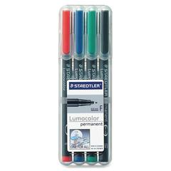 Staedtler Lumocolor Permanent Pen 318 - Fine Point Type - 0.6 mm Point Size - Red, Blue, Green, Black - Black Polypropylene Barrel - 4 / Set