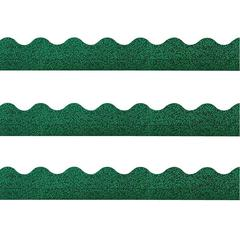 """Trend Sparkle Board Trimmers - (Rectangle Topped With Waves) Shape - Pin-up - 2.25"""" Width x 390"""" Length - Green - Paper - 1 Pack"""