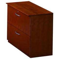 "Mayline Corsica Two-Drawer Lateral File - 36"" x 19"" x 29.5"" - 2 - Beveled Edge - Material: Wood - Finish: Cherry Veneer, Sierra Cherry"