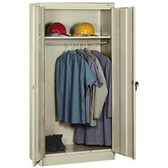 """Tennsco Heavy-gauge Steel Wardrobe Cabinet - 36"""" x 18"""" x 72"""" - 2 x Front Open Door(s) - Security Lock - Putty - Chrome - Steel - Recycled"""