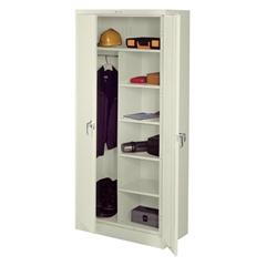 """Tennsco Steel Duplex Combination Cabinet - 36"""" x 18"""" x 78"""" - 2 x Door(s) - Security Lock - Putty - Steel - Recycled"""