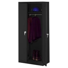 """Tennsco Full-Height Deluxe Wardrobe Cabinet - 36"""" x 18"""" x 78"""" - 2 x Door(s) - Security Lock, Leveling Glide - Black - Steel - Recycled"""