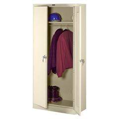 "Tennsco Full-Height Deluxe Wardrobe Cabinet - 36"" x 18"" x 78"" - 2 x Door(s) - Security Lock, Leveling Glide - Putty - Steel - Recycled"