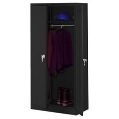 """Tennsco Full-Height Deluxe Wardrobe Cabinet - 36"""" x 24"""" x 78"""" - 2 x Door(s) - Security Lock, Leveling Glide - Black - Steel - Recycled"""