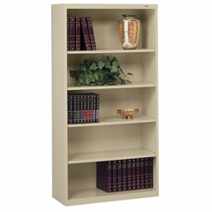"Tennsco Welded Bookcase - 34.5"" x 13.5"" x 66"" - 5 x Shelf(ves) - 600 lb Load Capacity - Sand - Steel - Recycled"