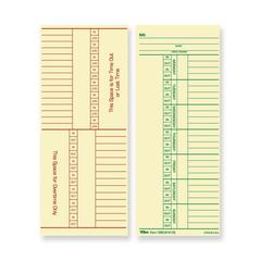 "TOPS Named Days/Overtime Time Cards - 8.25"" x 3.37"" Sheet Size - Manila Sheet(s) - Green, Red Print Color - 100 / Pack"