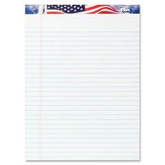 """TOPS American Pride Writing Tablets - 50 Sheets - Strip - 0.34"""" Front Line(s) Space - 16 lb Basis Weight - 8.50"""" x 11.75"""" - White Paper - Perforated, Bleed Resistant - 3 / Pack"""