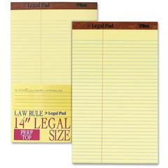 "TOPS Legal Law Rule Pads - 50 Sheets - Printed - Double Stitched - 16 lb Basis Weight - Legal 8.50"" x 14"" - Canary Paper - 1Dozen"