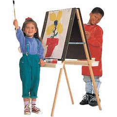 "Quartet® Double Adjustable Easel, Two Masonite Panels, Rounded Edges - 47"" Height - Oak, Wood - Natural"