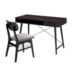 Modern Desk with storage and Chair Set. Colors: Wenge,Gray