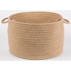 "Rhody Rug Solid Wheat Wool 18"" x 12"" Basket"