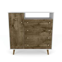 "Liberty 4-Drawer 42.32"" Sideboard in White and Rustic Brown"