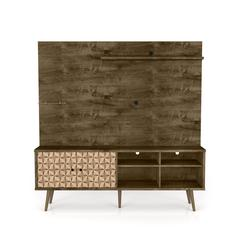 """Liberty 70.87"""" Freestanding Entertainment Center with Overhead shelf  in Rustic Brown and 3D Brown Prints"""