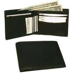 Japanese Drum Dyed Leather, Executive Slim Billfold Leather Wallet in Black