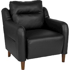 Newton Hill Upholstered Bustle Back Arm Chair in Black Leather