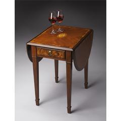 Glenview Olive Ash Burl Pembroke Table, Olive Ash Burl