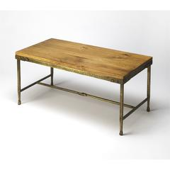 Gratton Iron & Wood Cocktail Table, Industrial Chic