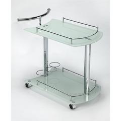 BUTLER PENELOPE WHITE GLASS SERVING CART