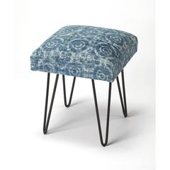 Faded Denim Cotton Upholstered Stool, Loft