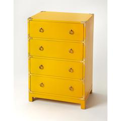 Ardennes Yellow Campaign Accent Chest, Yellow
