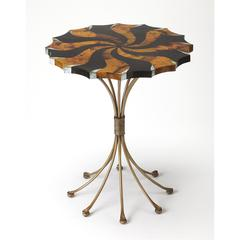 Pinwheel Pen Shell Accent Table, Metalworks